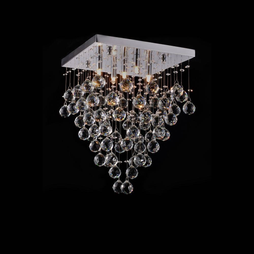 Plafon Cristal Alto Brilho Quadrado Cromado/Transparente 5 l - LCGELETRO