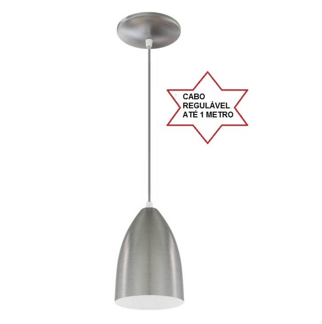 Pendente Bala Escovado Em Alumínio Para Lâmpada E27 - LCGELETRO