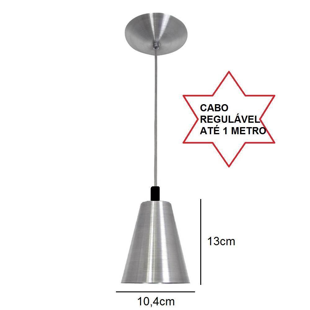 Pendente Cone Pequeno Escovado Em Alumínio Para Lâmpada E27 - LCGELETRO
