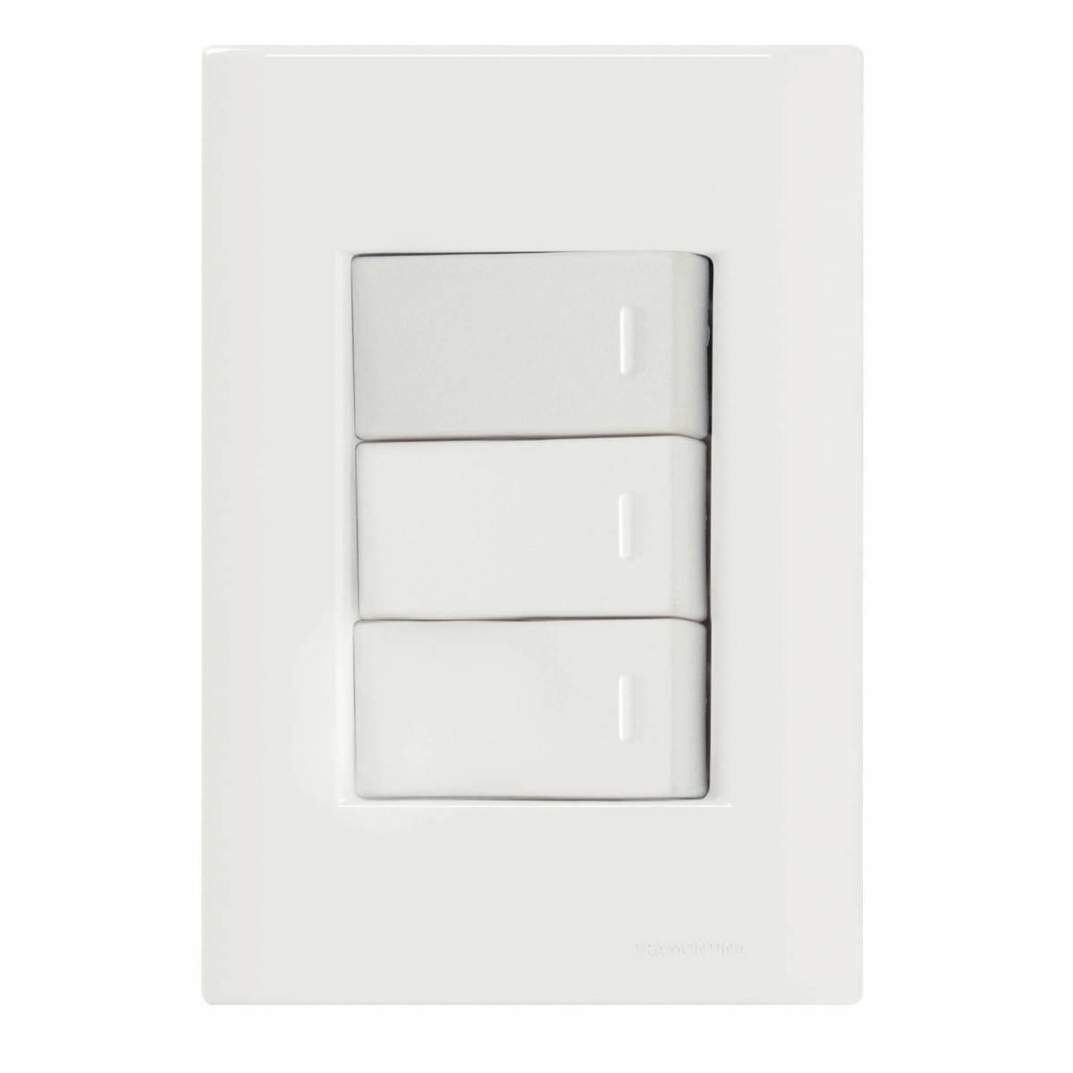 Conjunto Montado Liz 4x2 3 Interruptores Simples 10A 250V Tr - LCGELETRO