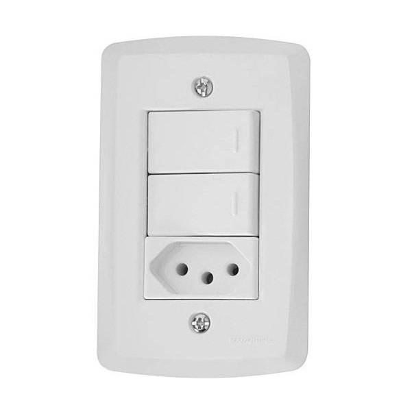 Conjunto Montado Lux² 4x2 2 Interruptores Simples + 1 Tomada - LCGELETRO