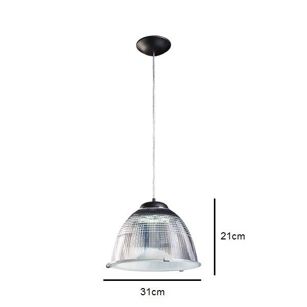 Pendente Prismático Preto Para Lâmpada E27 Cozinha Americana - LCGELETRO