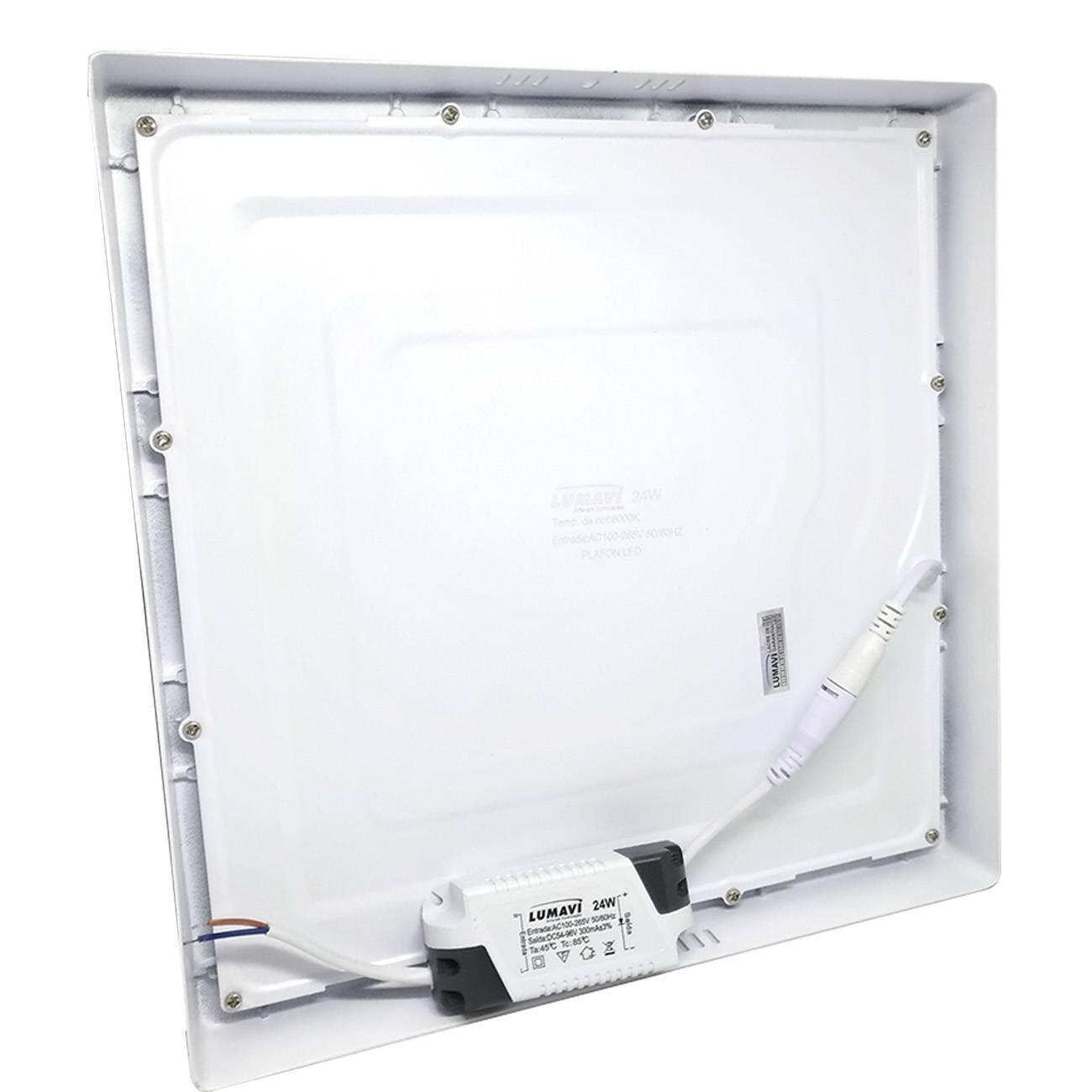 Kit 3 Luminária Painel Plafon Led Quadrado Sobrepor 24w 6000 - LCGELETRO
