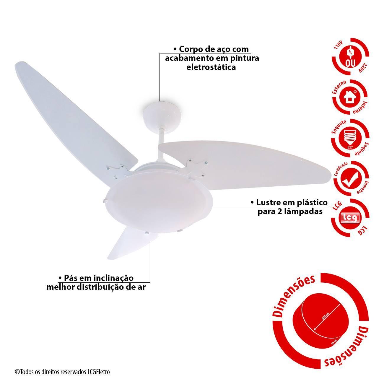 Ventilador De Teto Wind Light Branco 2 Lâmp. Roma Ponente 3  - LCGELETRO