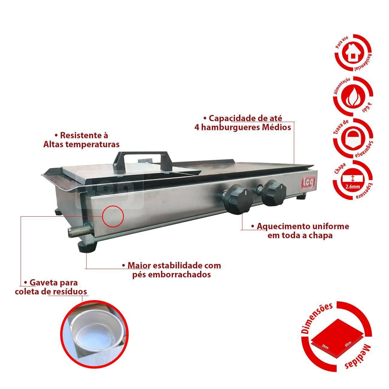 Chapa Para Lanche A Gás 30x60cm Lcg + Espremedor De Suco Peq - LCGELETRO