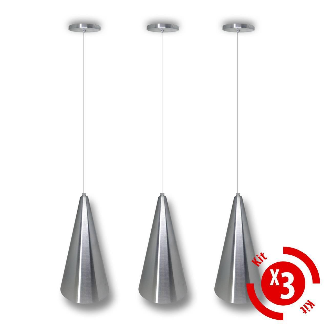 Pendente Cone Alumínio Escovado Para Lâmpada E27 - Kit 03 un - LCGELETRO