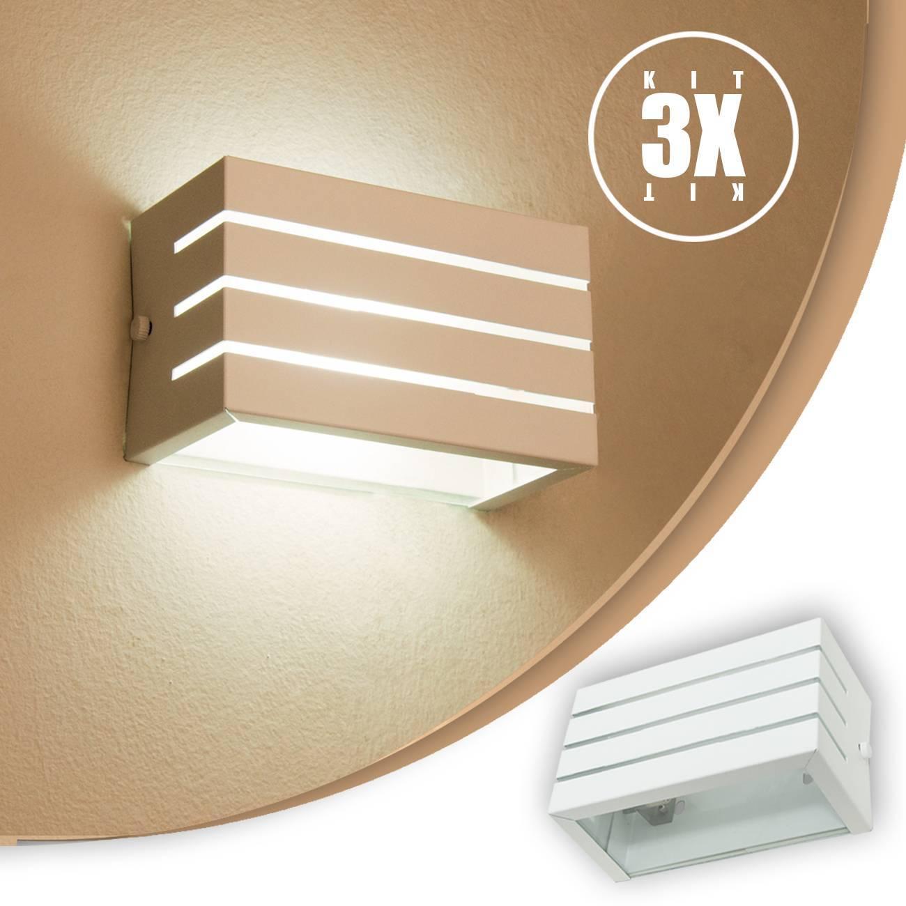Arandela Frisada Branca Parede Externa Kit 03 unidades - LCGELETRO