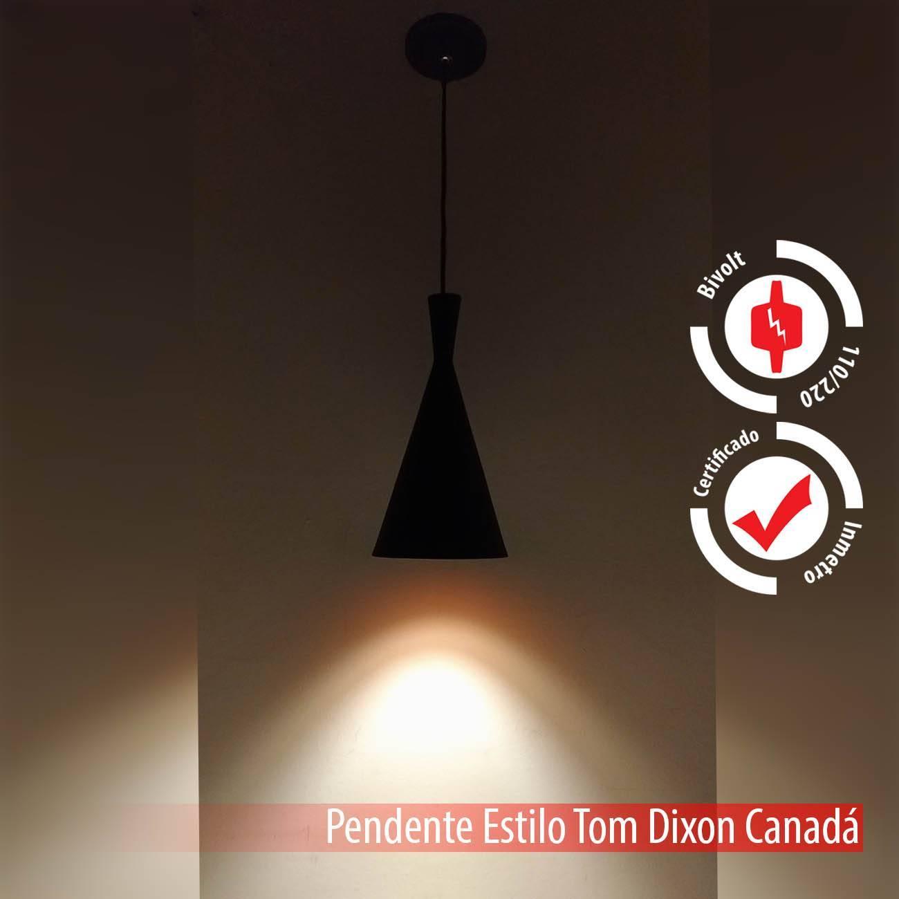 Pendente Tom Dixon Preto E Cobre Canadá Alumínio E27 - LCGELETRO