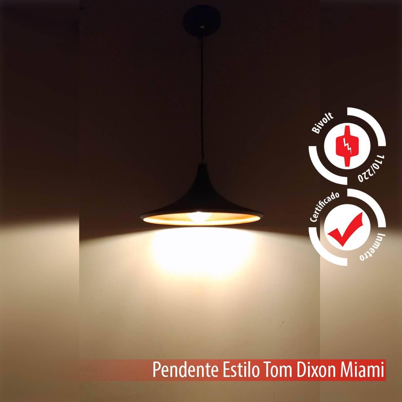 Pendente Tom Dixon Preto E Cobre Miami Alumínio E27 - LCGELETRO