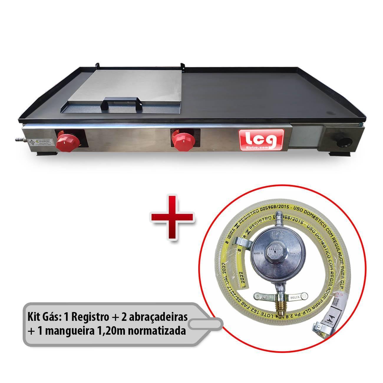 Chapa De Lanche A Gás Sanduicheira 40x80cm Lcg + Kit Gás - LCGELETRO