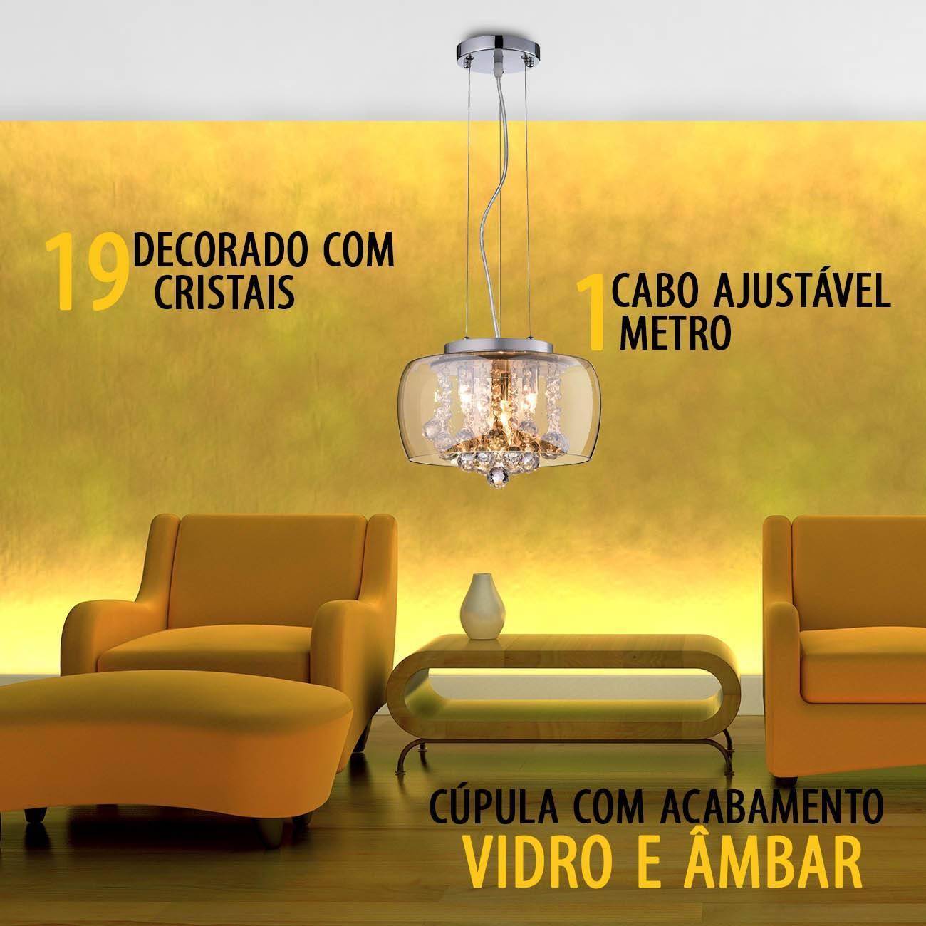 Pendente/Plafon Ambar Cristal Soho Pd005am 28x17cm - LCGELETRO