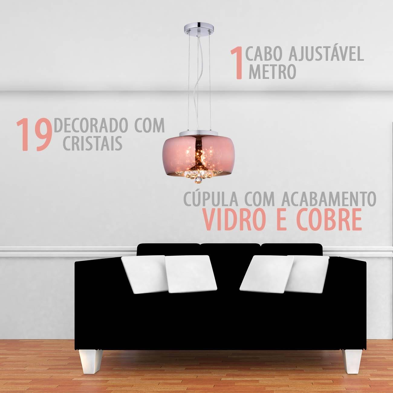 Pendente/Plafon Cobre Cristal Soho Pd005co 28x17cm - LCGELETRO