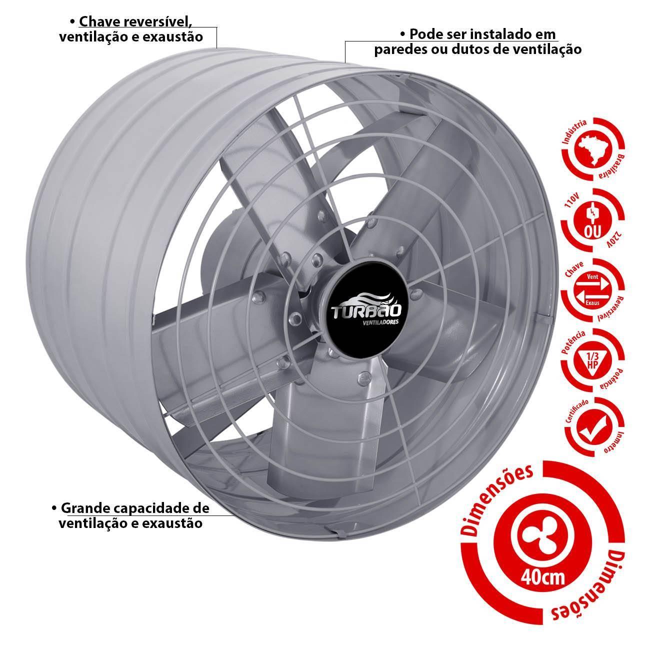 Exaustor Industrial/Comercial 40cm Turbão Alta Vazão - LCGELETRO