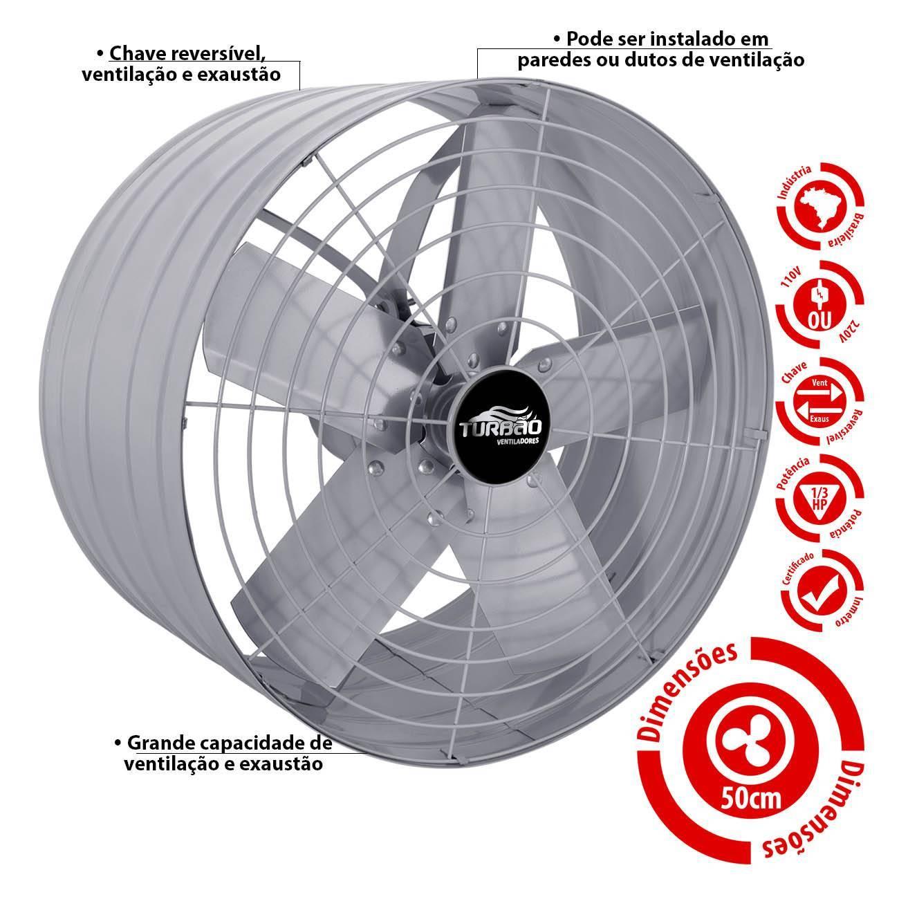 Exaustor Industrial/Comercial 50cm Turbão Alta Vazão - LCGELETRO