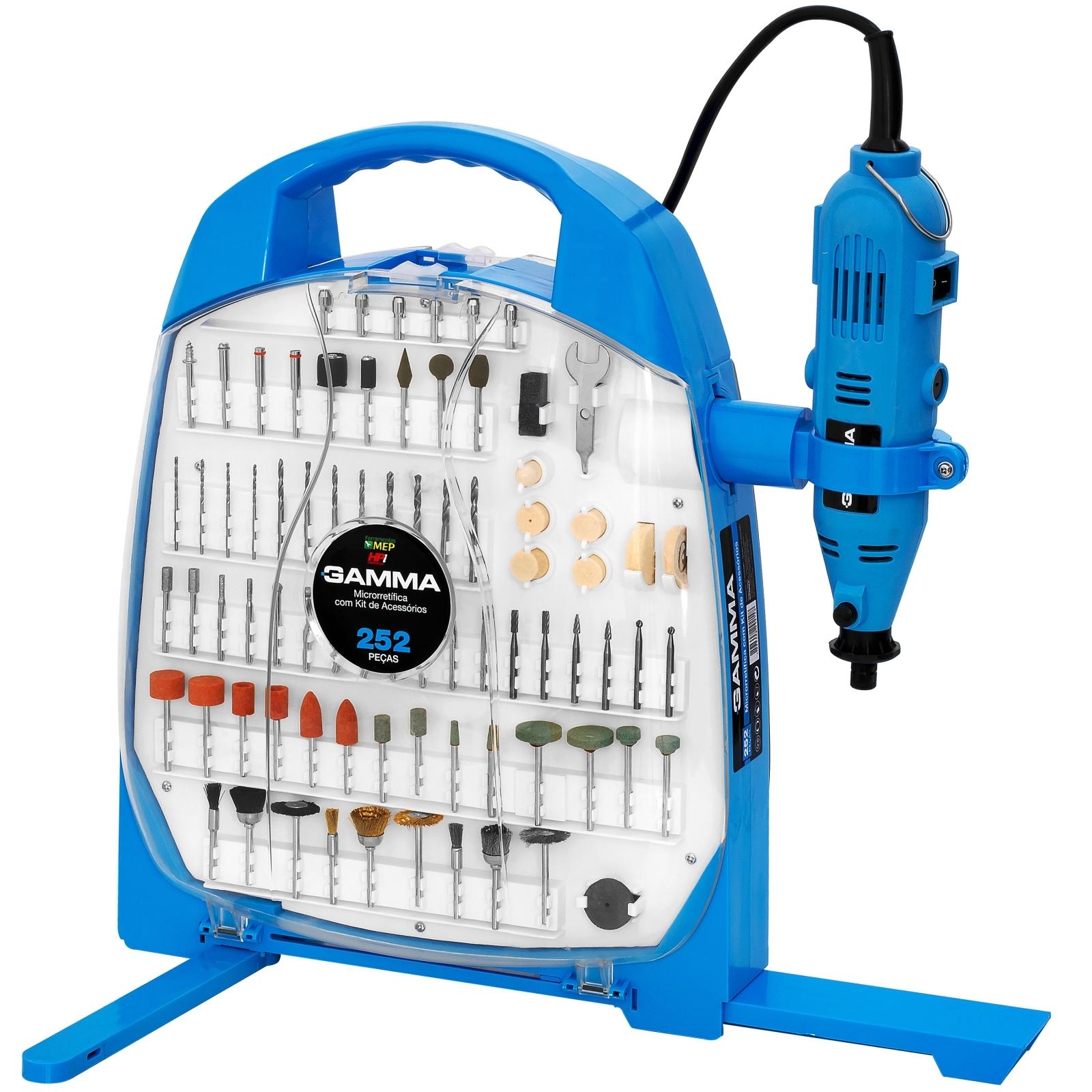 Micro Retífica Com Acessórios Gamma - G19502BR - 252 Peças - 130 watts - Ferramentas MEP