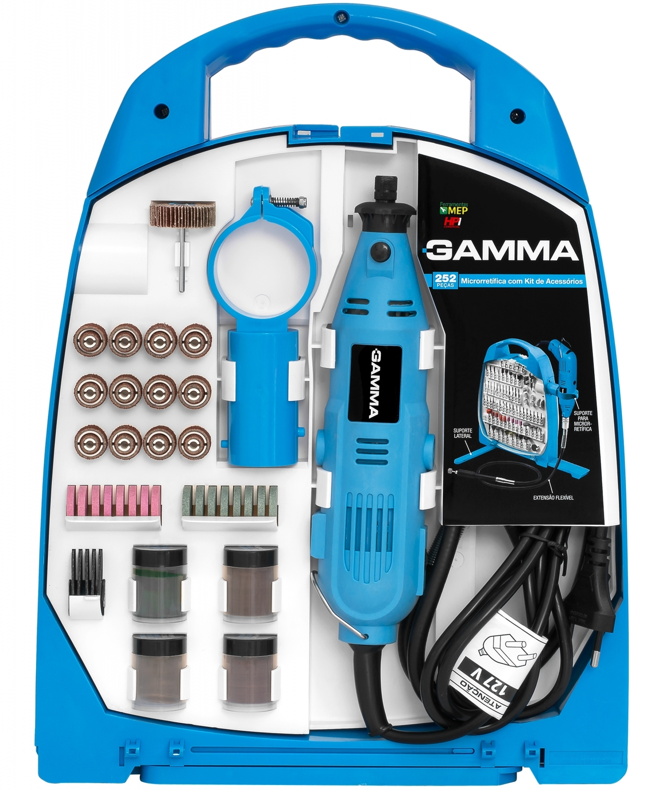Micro Retífica Com Acessórios Gamma - G19502BR - 252 Peças - 130 watts Rg1 - Ferramentas MEP