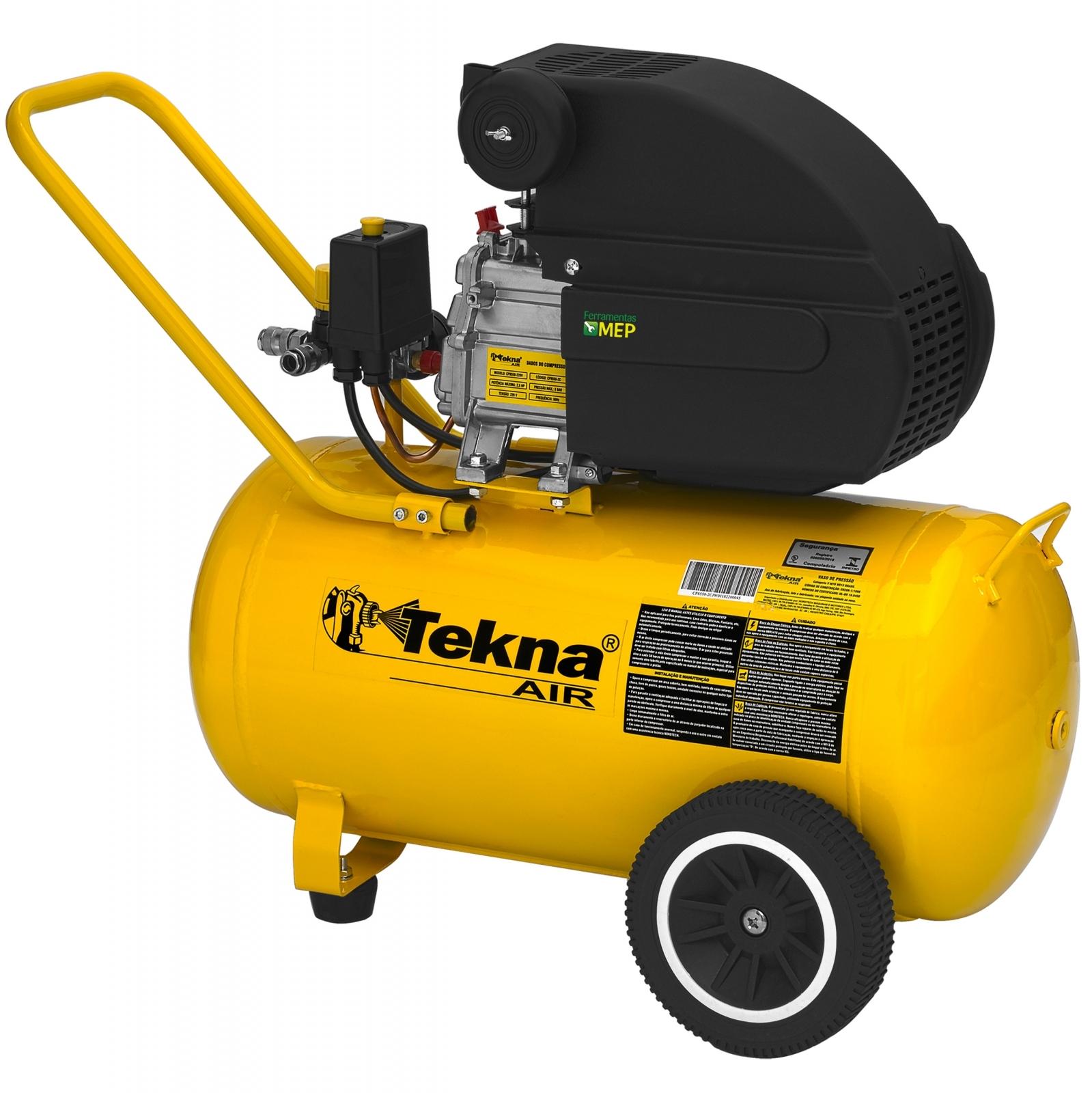 Compressor De Ar 2,5hp 50 Litros Tekna CP8550 - Ferramentas MEP