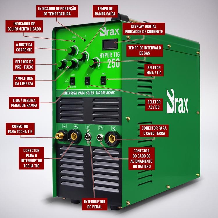 Máquina De Solda Tig Ac/Dc Eletrodo Brax Hypertig 250 Completa - Ta3 - Ferramentas MEP