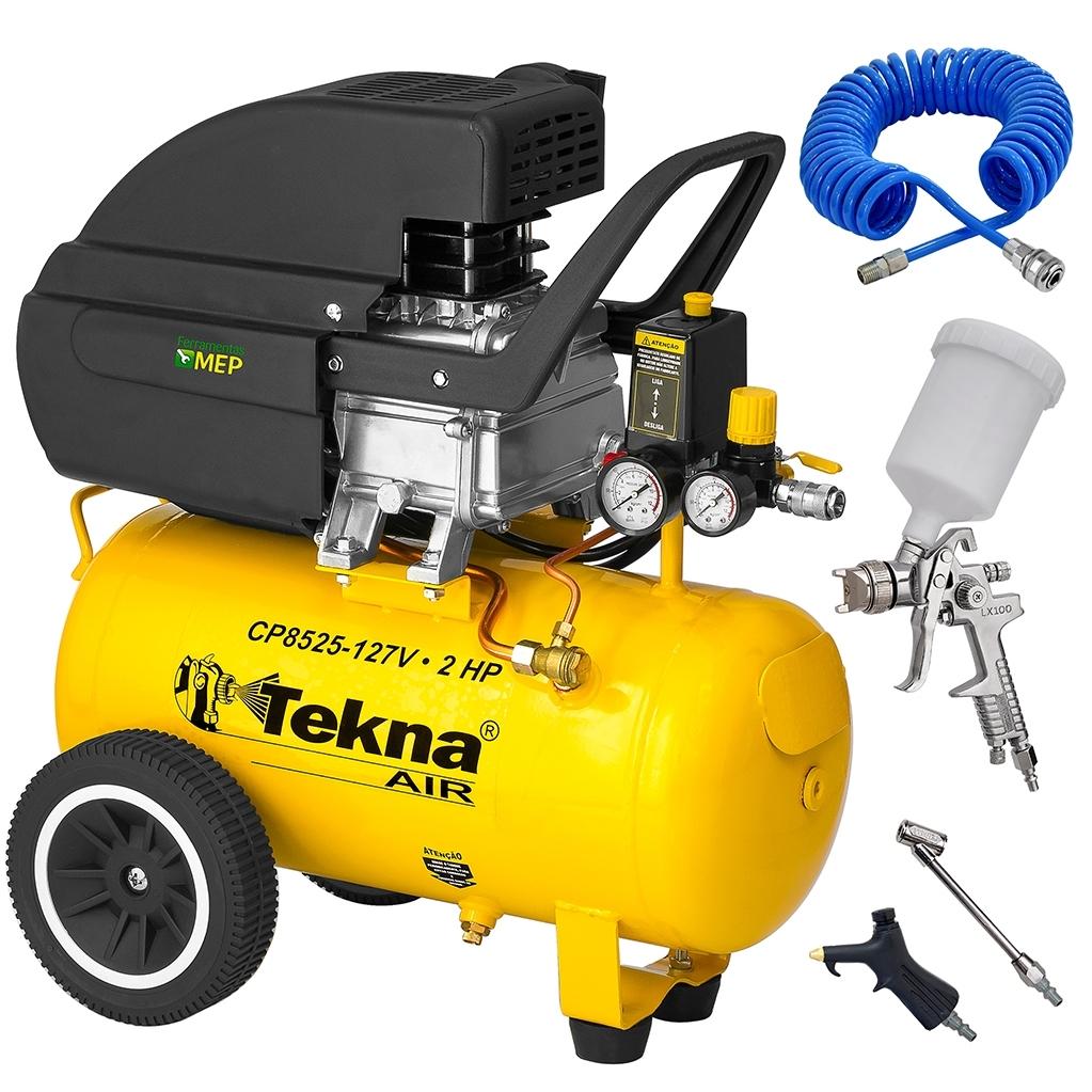 Compressor De Ar 24 Litros 2hp Tekna CP8525 + Pistola De Pintura Hvlp Lx100 600ml Hvlp + Kit Ck1 - Ferramentas MEP