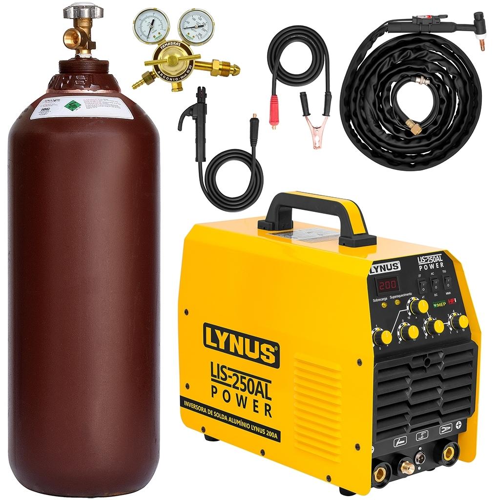 Máquina De Solda Tig Ac/Dc Eletrodo Lynus - LIS 250 AL - Completa c/ Cilindro de 7m3 Ad7 - Ferramentas MEP