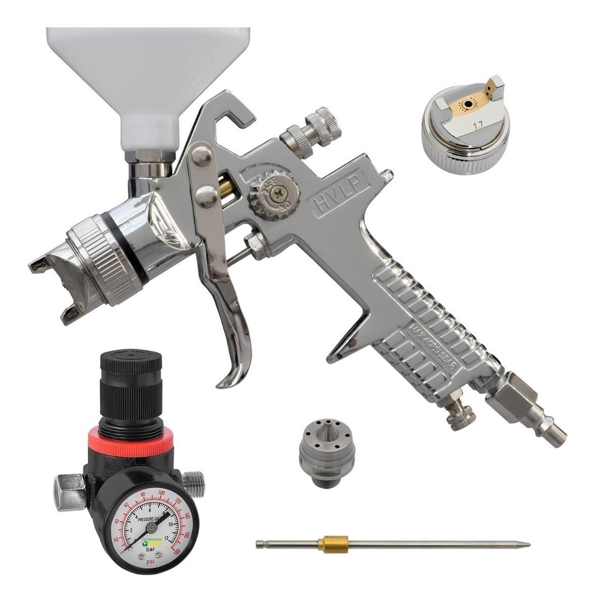 Pistola De Pintura Hvlp Modelo SH0225 SH Ferramentas + Kit bico capa e agulha + Regulador de pressão - Ferramentas MEP