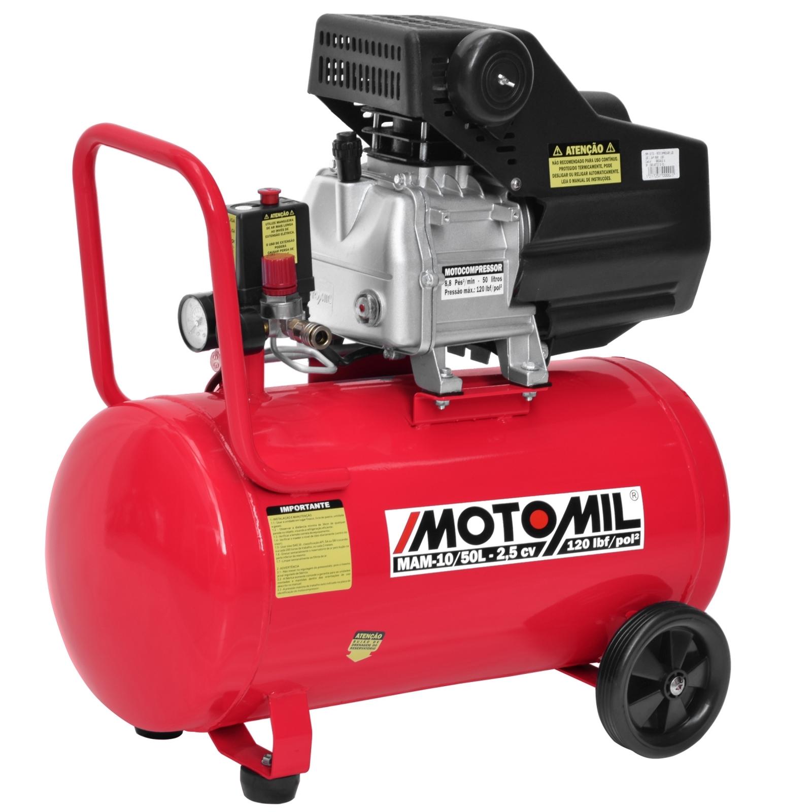 Compressor De Ar 8.8 Pcm 50 Litros Motomil – MAM 10/50L Bivolt - Ferramentas MEP