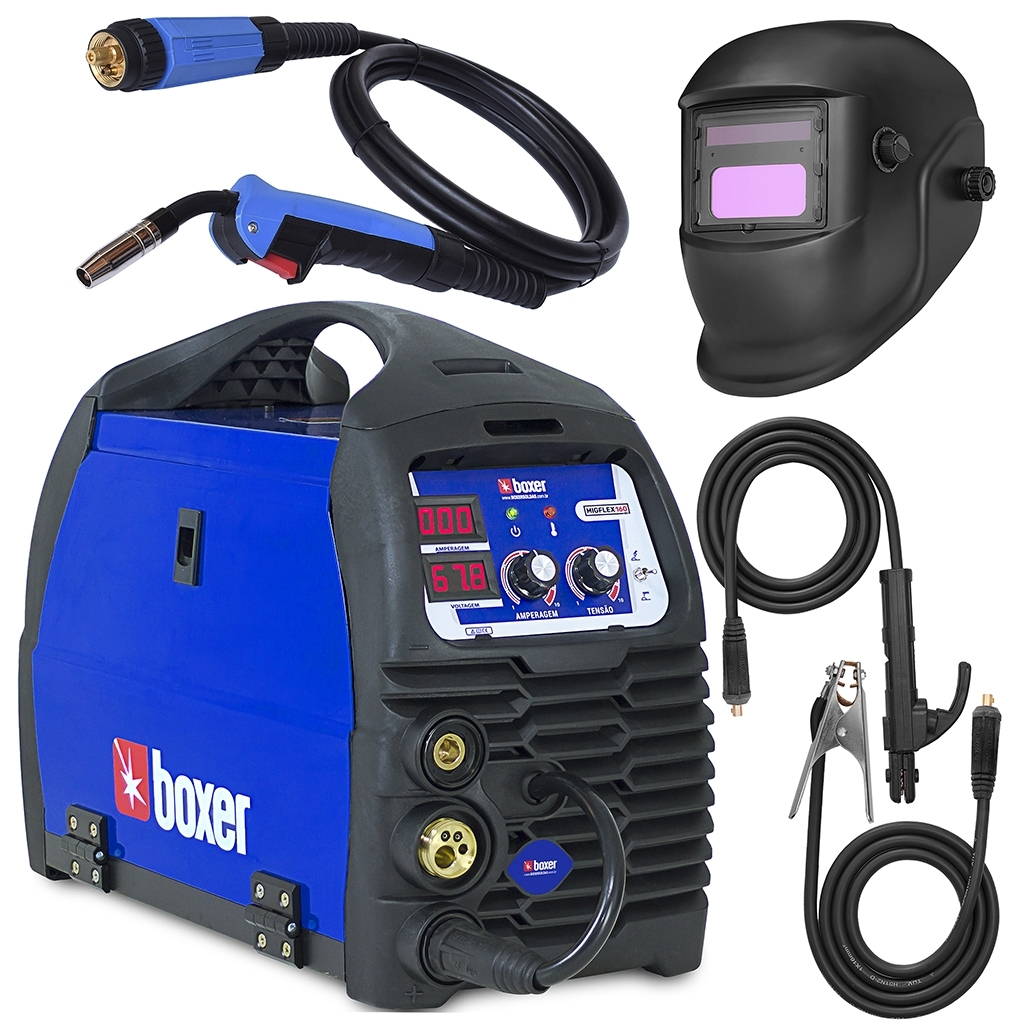 Máquina De Solda Mig Flex Tig Eletrodo Boxer Soldas MigFlex160 Bivolt com Máscara - Ferramentas MEP
