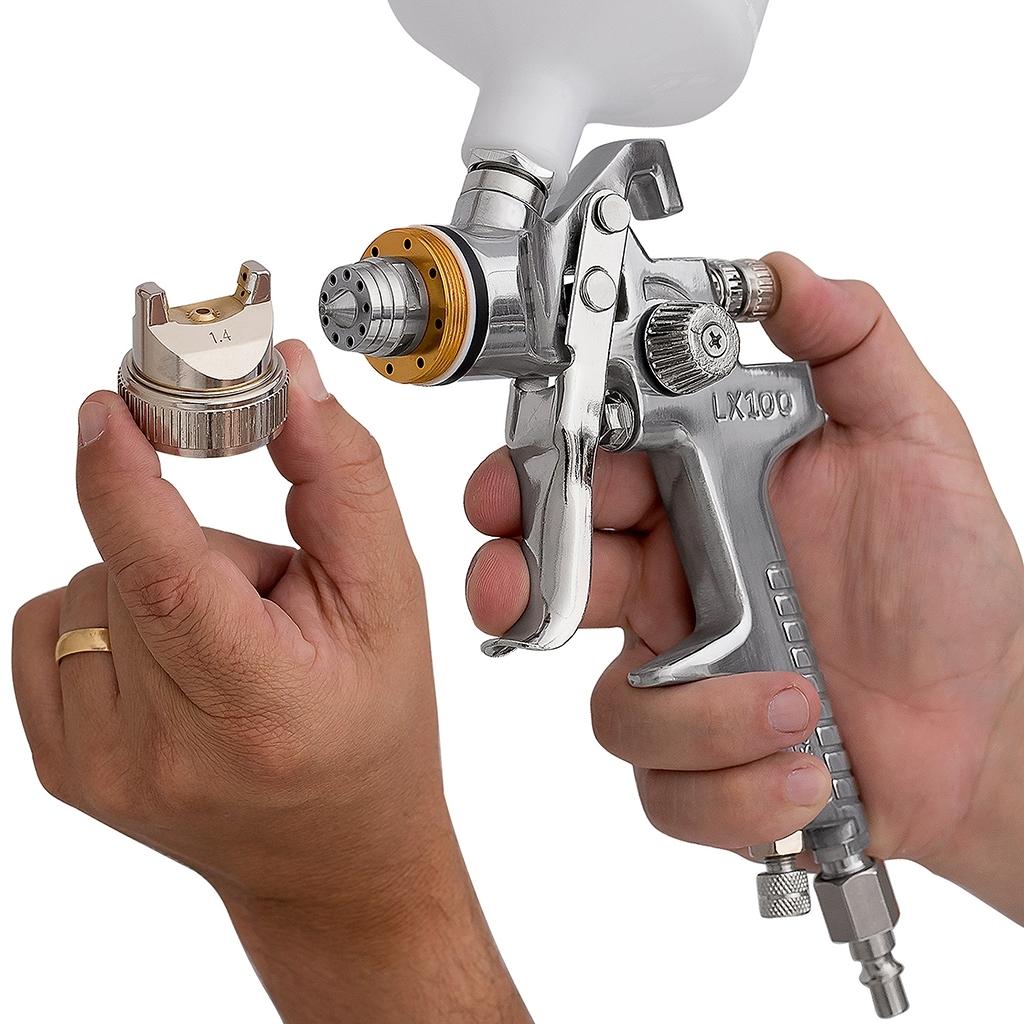 Kit Pistola De Pintura Hvlp 600ml Lx100 Zeffix + Pistola De Fundo 500ml Ldr2 Pro 500 Kp4 - Ferramentas MEP