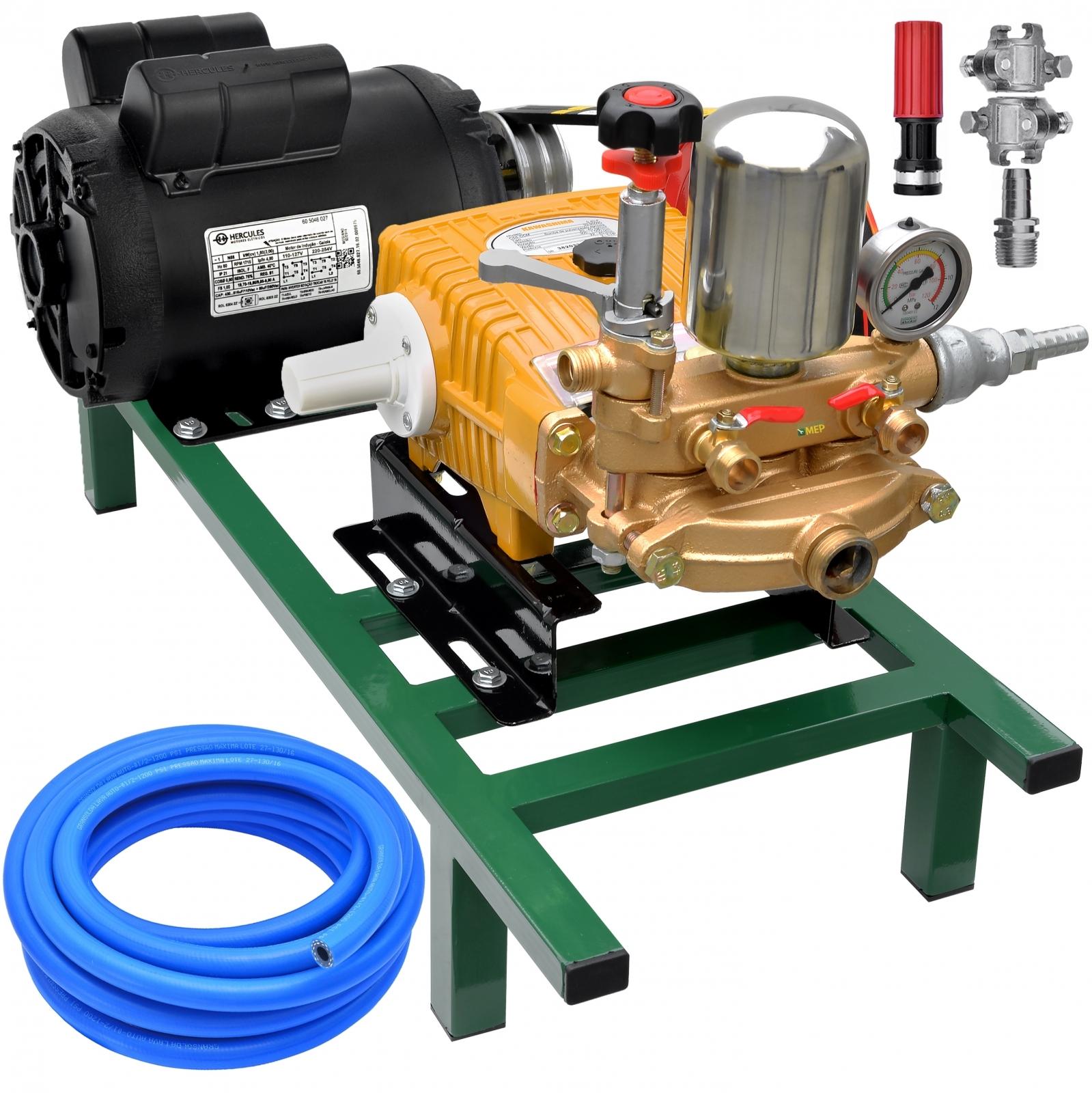 Bomba De Alta Pressão E Pulverização Zmax Zp22 + Motor marca Hercules 2cv 4p Lavacar Completa - Ferramentas MEP