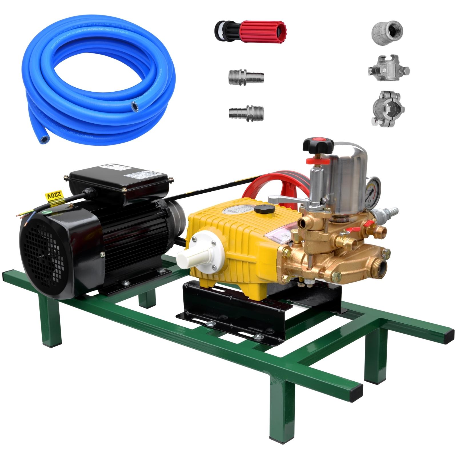 Bomba De Alta Pressão E Pulverização Zmax Zp45 + Motor marca Lynus 2cv 4p Lavacar Completa - Ferramentas MEP