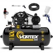 Compressor de Ar 10 pcm 100 litros Pressure Vortex com kit Profissional cp2