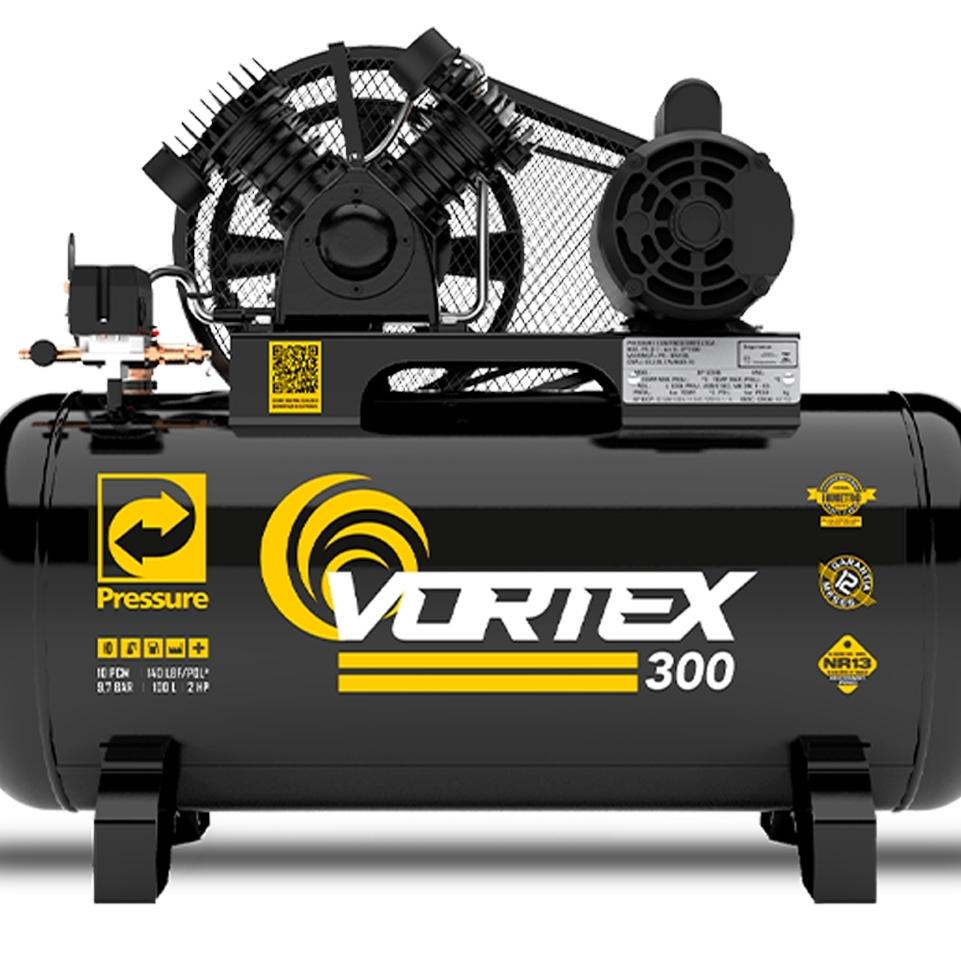 Compressor de Ar 10 pcm 100 litros Pressure Vortex com kit Profissional cp2 - Ferramentas MEP