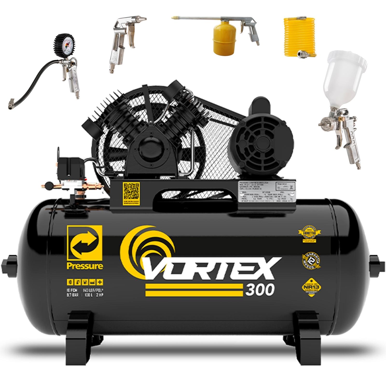 Compressor de Ar 10 pcm 100 litros Pressure Vortex com kit Simples Cp3 - Ferramentas MEP