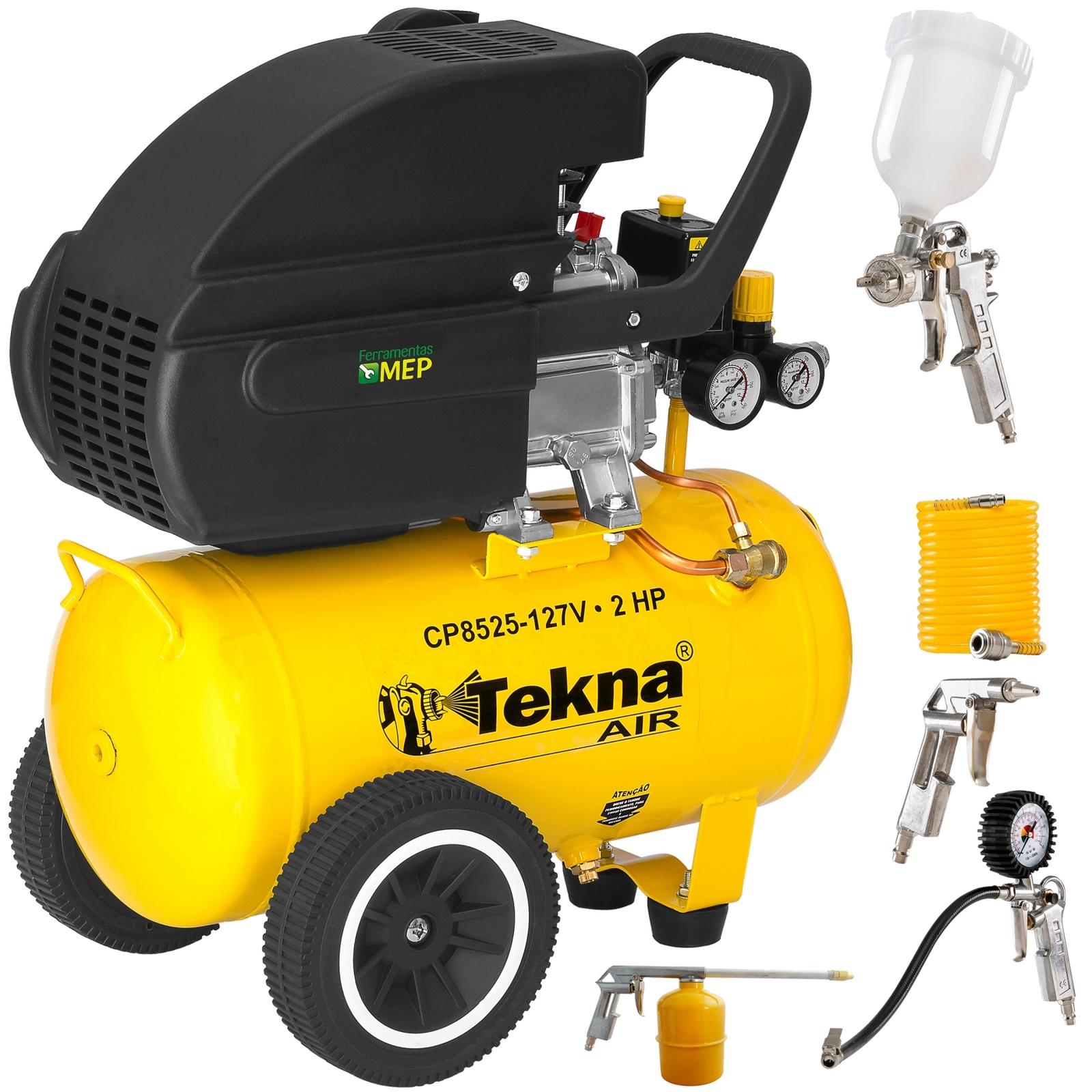 Compressor De Ar 24 Litros 2hp Tekna CP8525 + Kit Pintura Ck2 - Ferramentas MEP