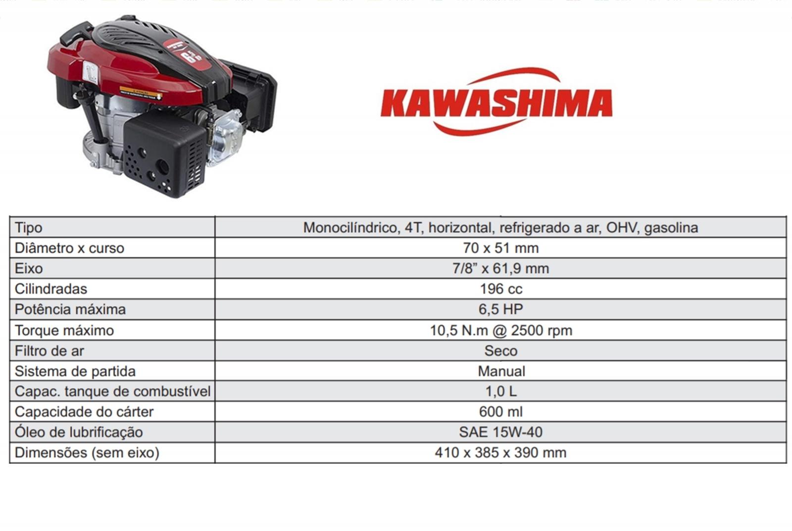 Motor De Popa A Gasolina 6,5hp Kawashima GV650 Partida Manual + Rabeta Vertical Girafer Mkg - Ferramentas MEP