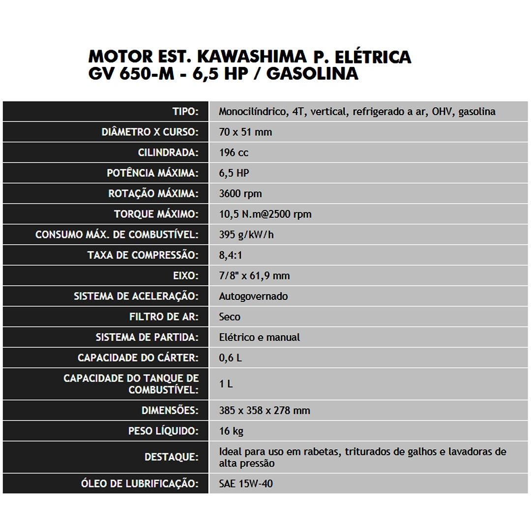 Motor De Popa A Gasolina 6,5hp Kawashima Gv650 Partida Elétrica + Rabeta Vertical Girafer Mke - Ferramentas MEP