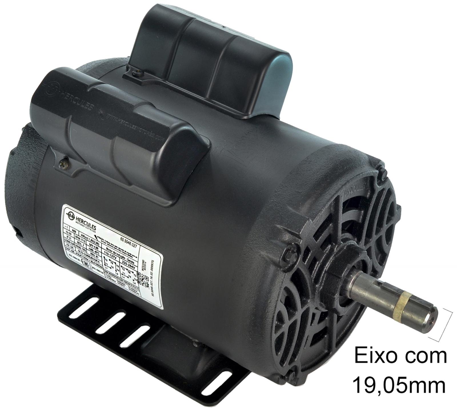 Motor Elétrico 2cv 4 Polos Baixa Rotação Monofásico Hercules Sem Polia Mh1 - Ferramentas MEP