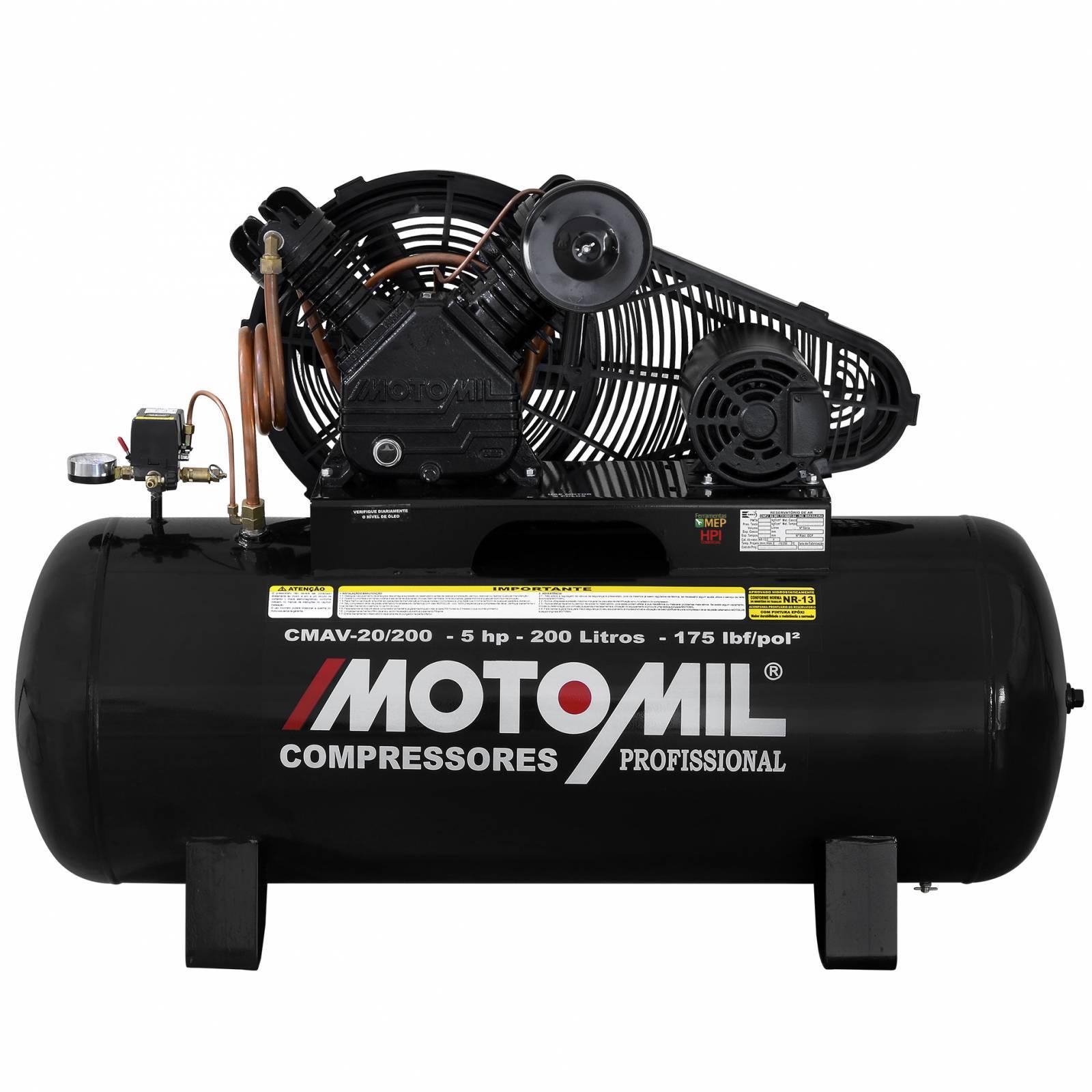Compressor De Ar Industrial Alta Pressão Motomil CMAV-20/200 - Ferramentas MEP