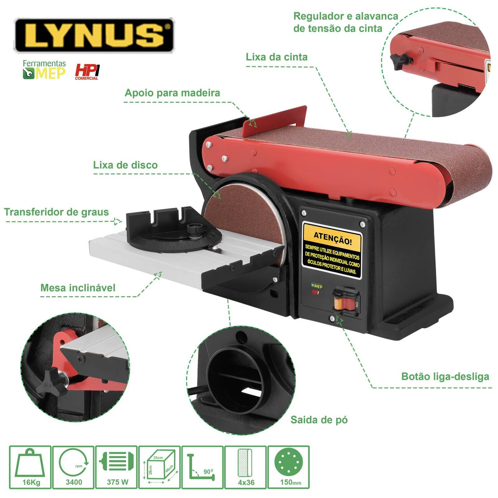 Lixadeira Combinada de Bancada Cinta E Disco Lynus Lb1 - Ferramentas MEP
