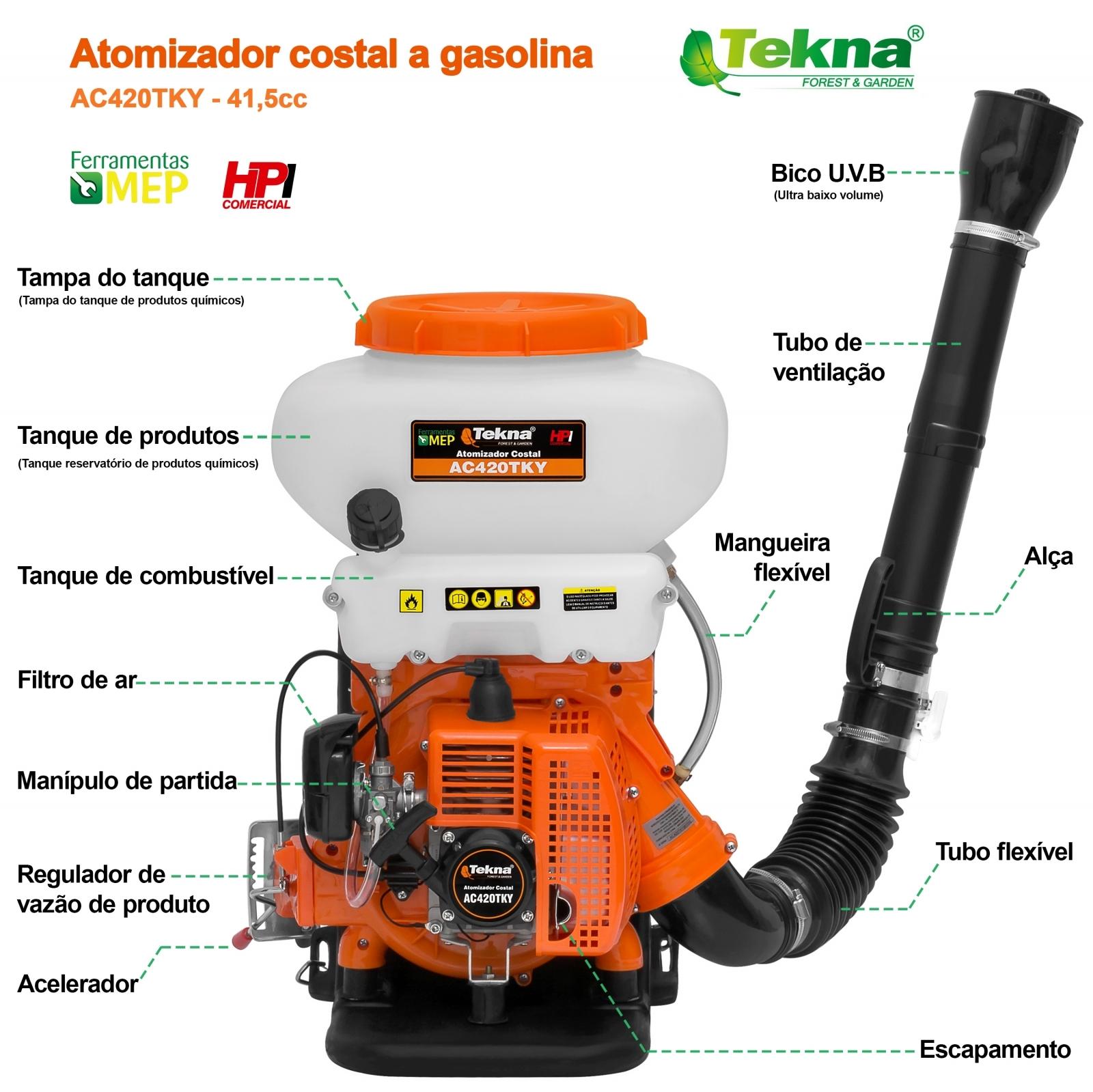 Atomizador Costal A Gasolina Tekna Modelo Ac420tky  - Ferramentas MEP