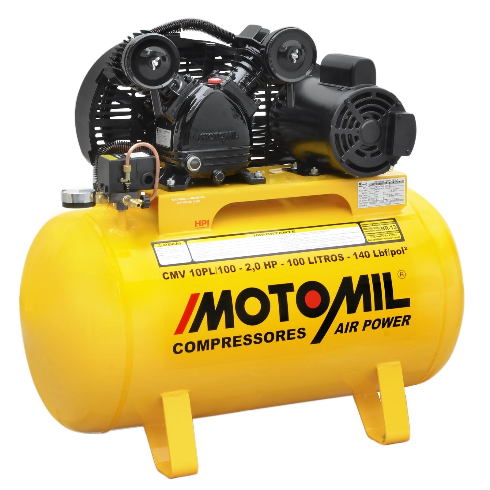 Compressor De Ar 10 PCM/100 L Motomil CMV 10PL100 220v - Ferramentas MEP