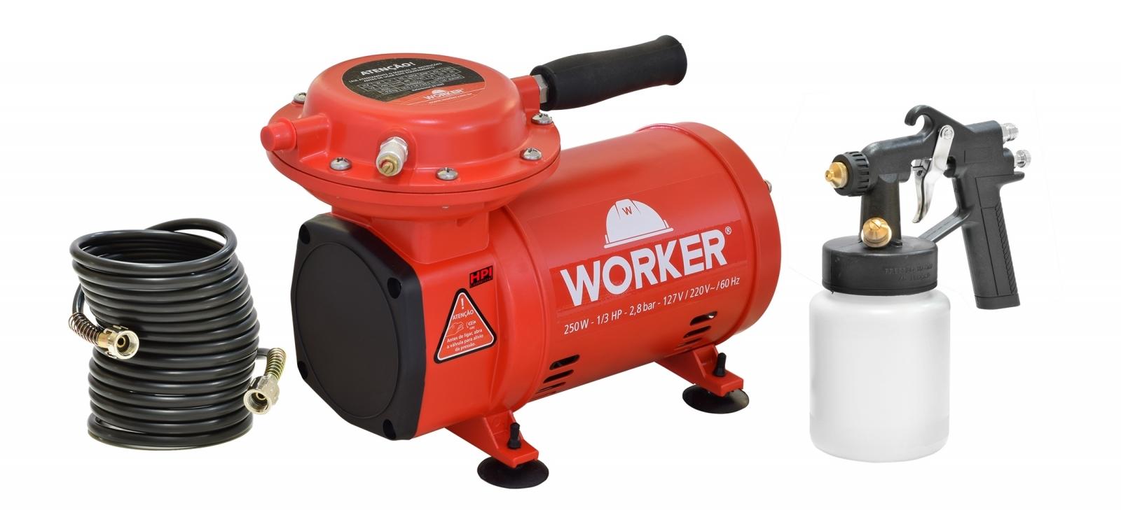 Compressor Ar Direto Tufão Worker Modelo 371629 Com Pistola - Ferramentas MEP