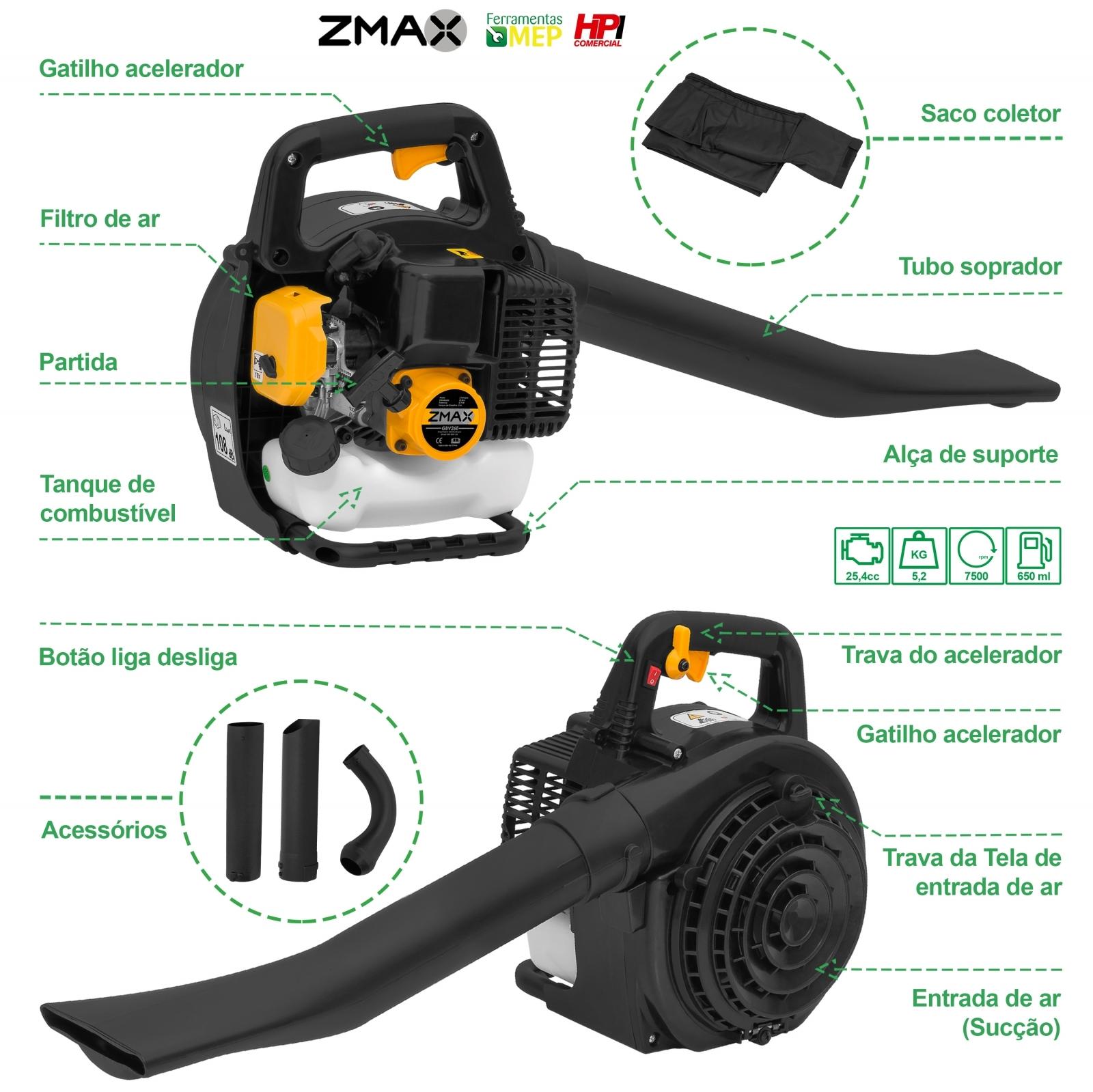 Soprador De Folhas A Gasolina Zmax GBV26E - Ferramentas MEP