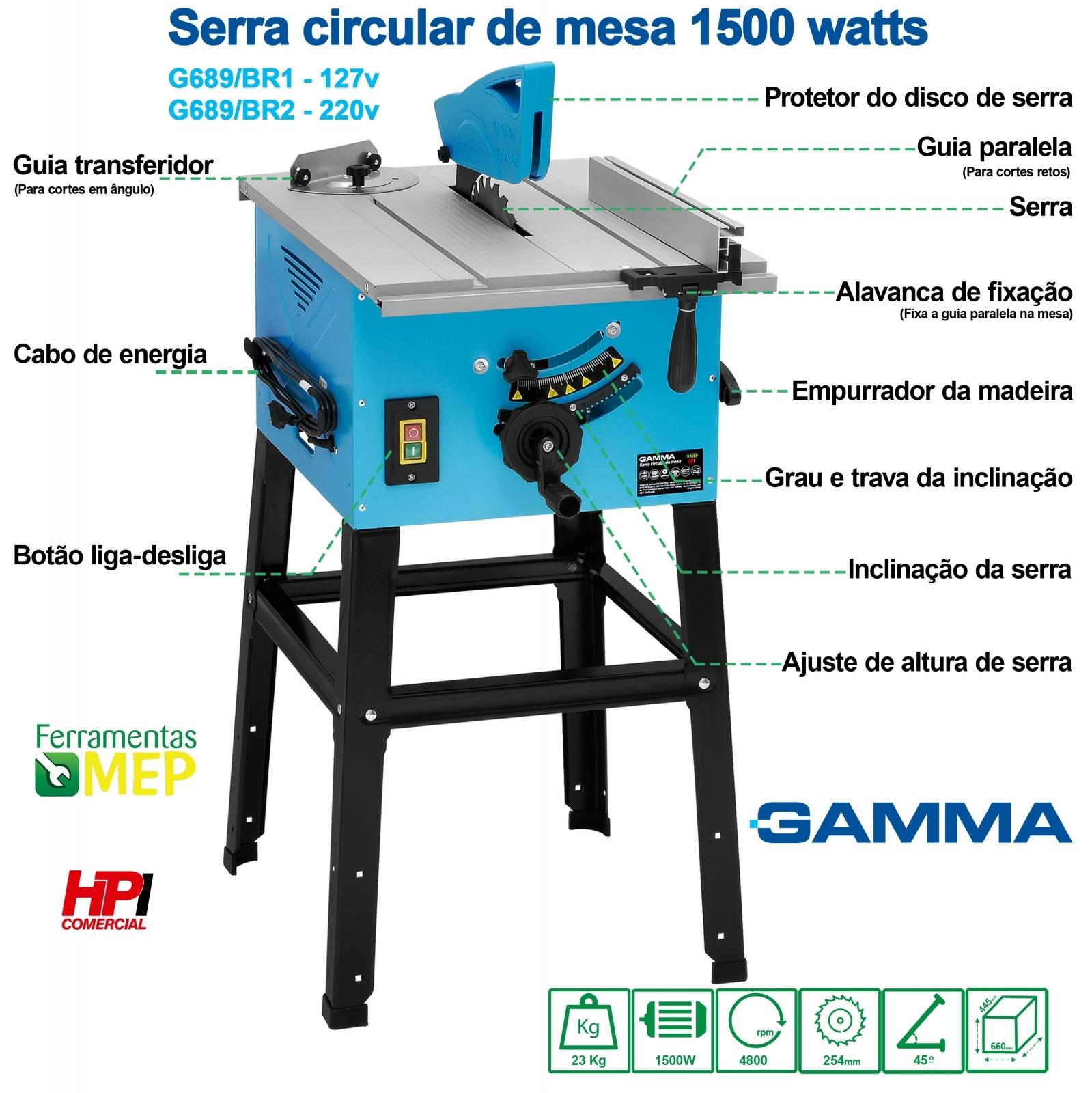 Serra Circular Para Madeira Mesa De Bancada Gamma 1500w - Ferramentas MEP