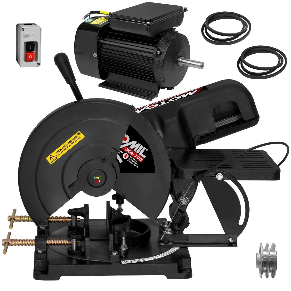 Serra Policorte Angular  Motomil SCA100 + Motor Elétrico 3 Cv 3450 RPM Lynus 2 polos alta rotação - Ferramentas MEP