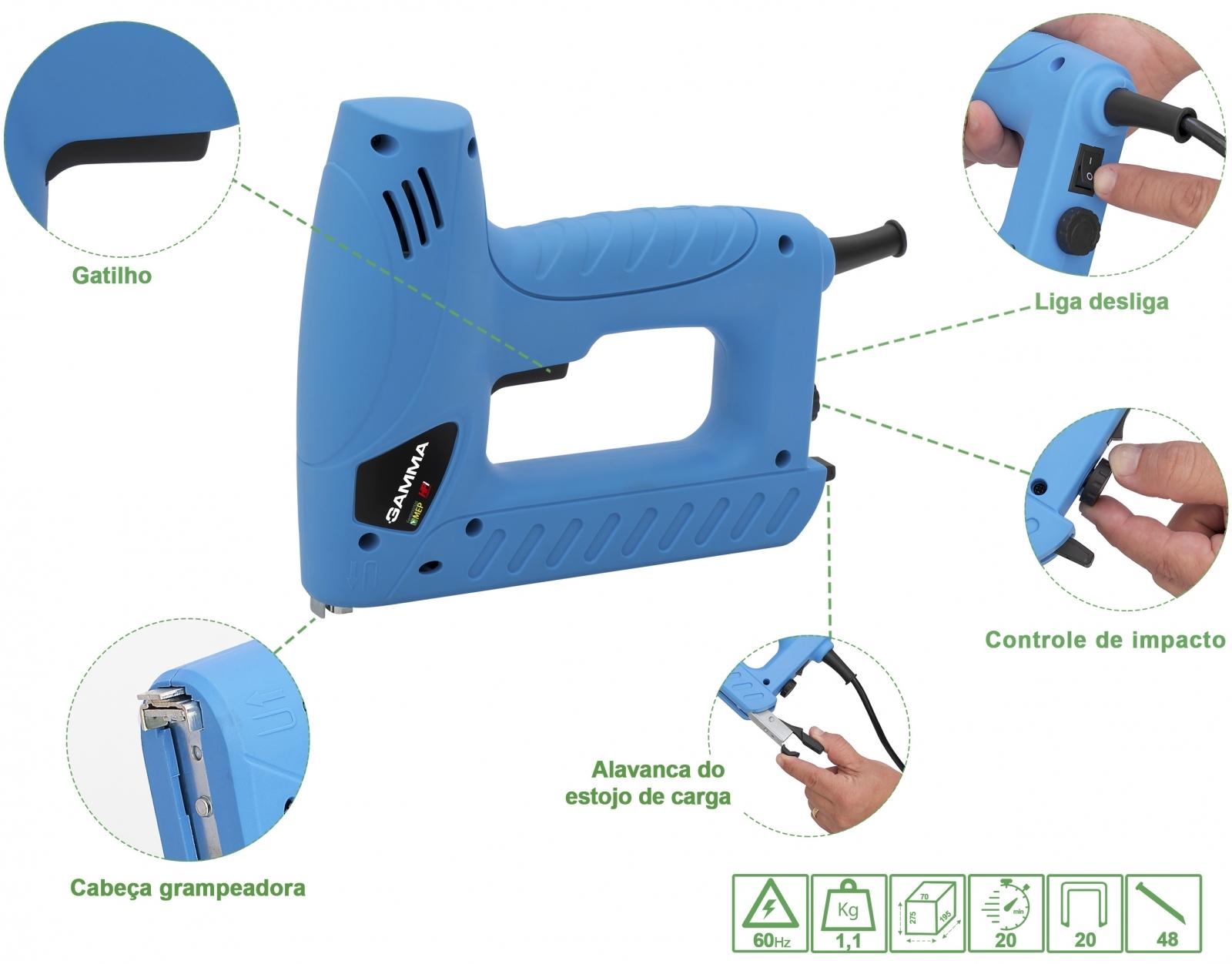 Grampeador e Pinador Elétrico Tapeceiro + Grampos + Pinos - Ferramentas MEP