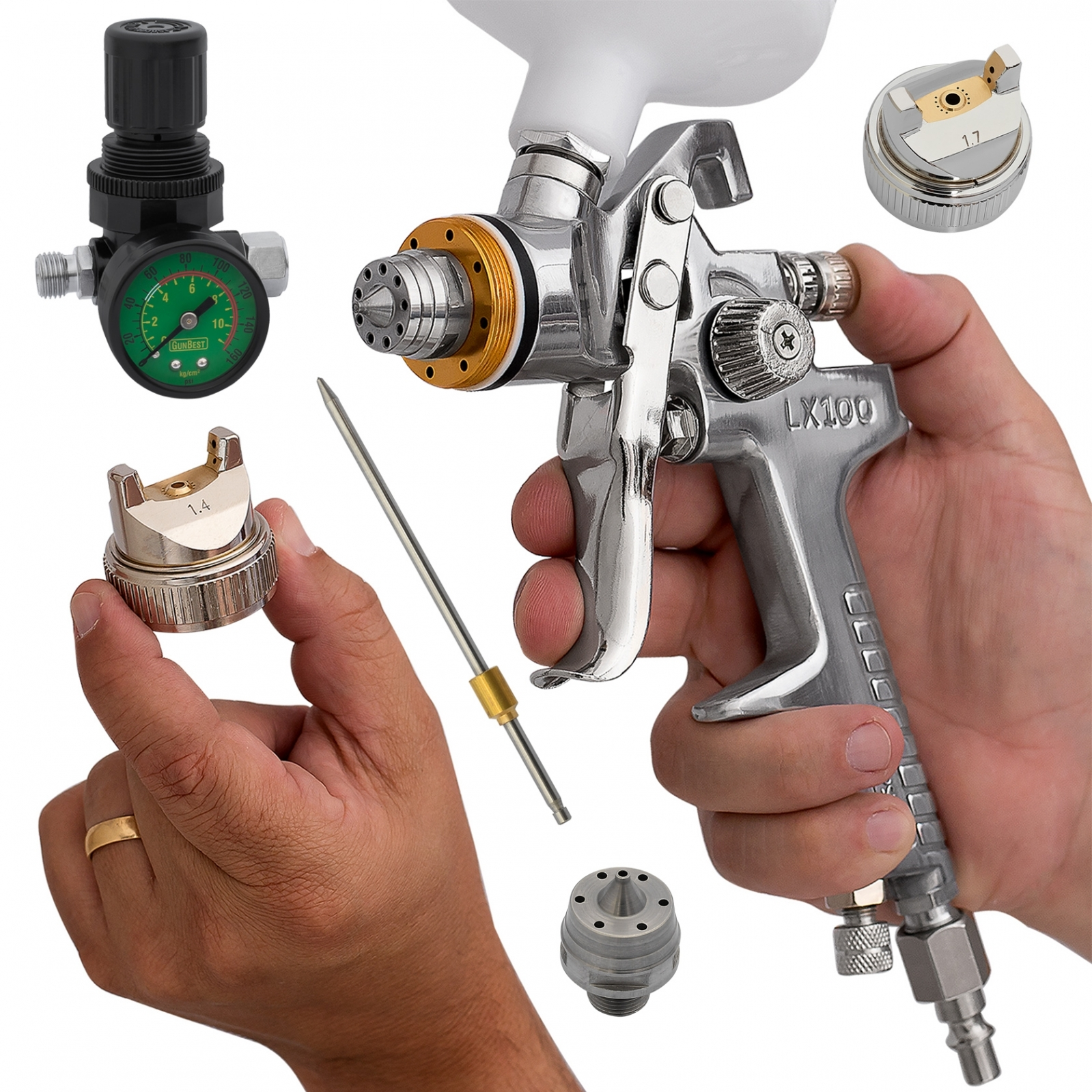 Pistola De Pintura Automotiva Hvlp Bico 1,4 + 1,7mm + manômetro Lx100m - Ferramentas MEP