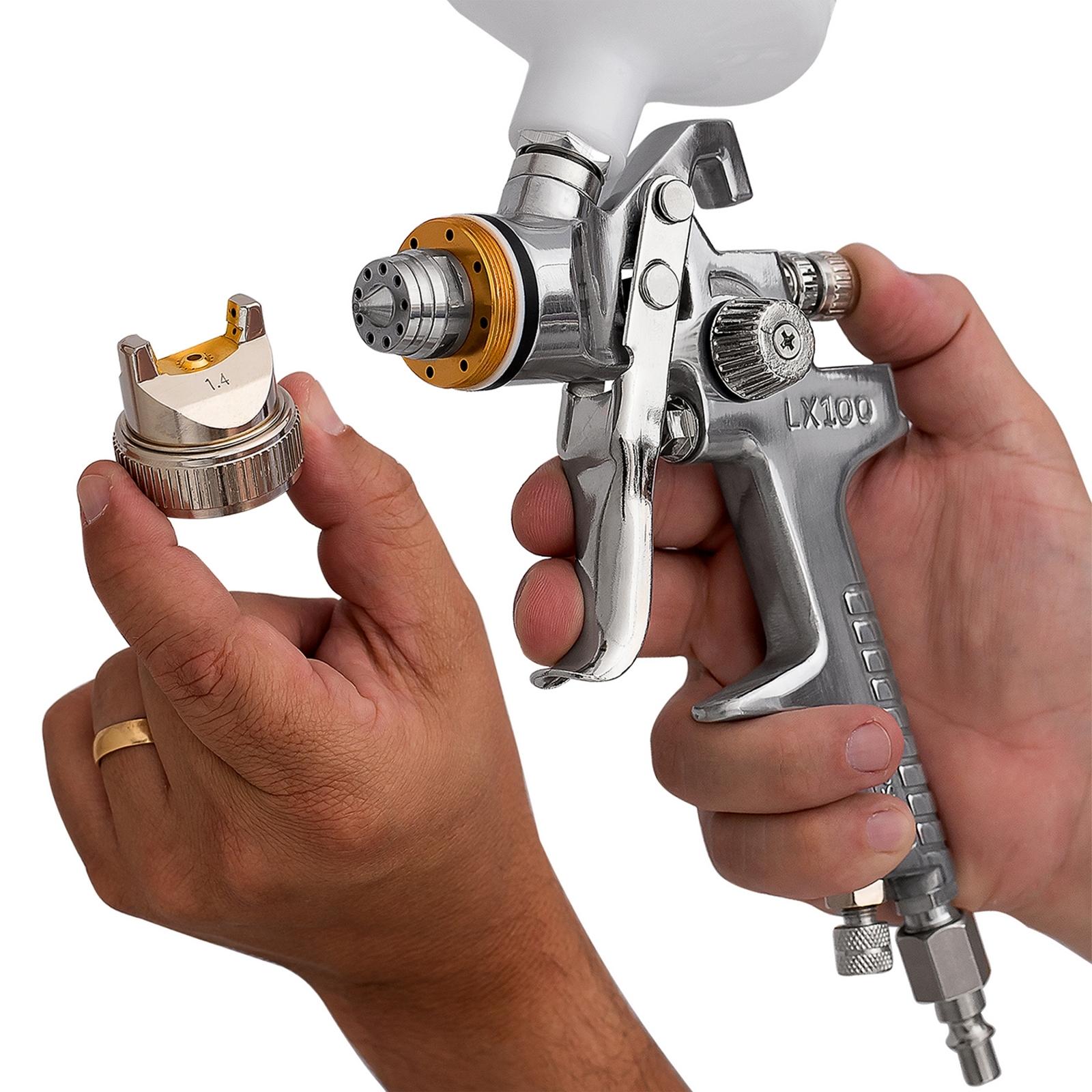 Pistola De Pintura Automotiva Hvlp Bico 1,4mm 600ml Lx100 - Ferramentas MEP