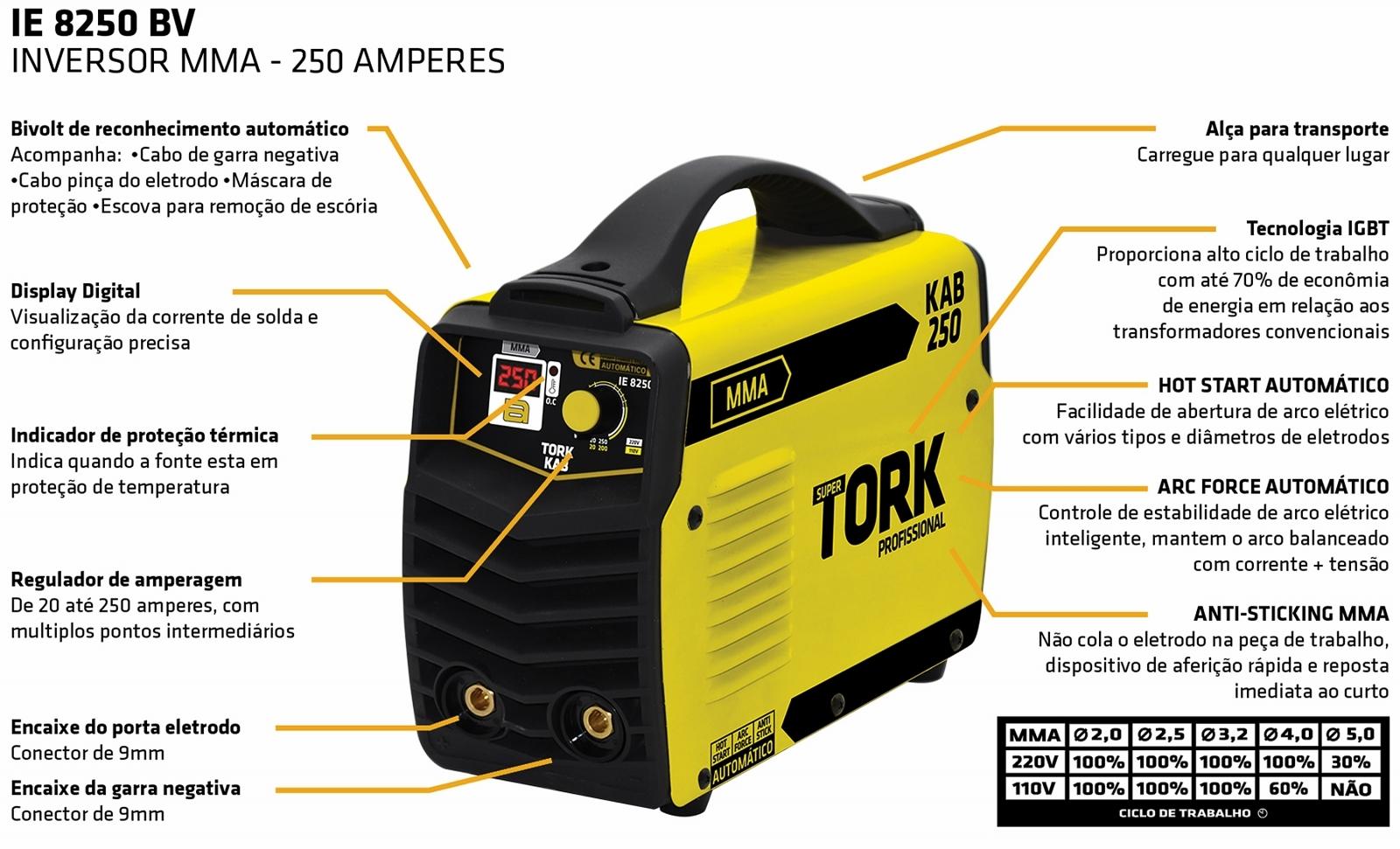 Maquina de Solda Inversora 250a Supertork Kab Ie-8250 Bivolt - St2 - Ferramentas MEP