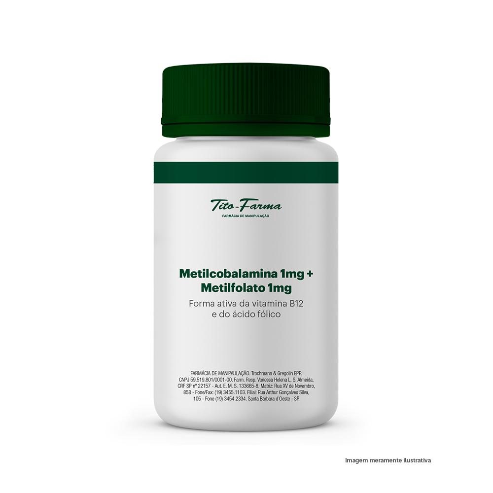 Metilcobalamina 1mg + Metilfolato 1mg - Forma Ativa da Vitamina B12 e do Ácido Fólico - Tito Farma